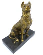 Vintage Cast Bronze Dog on Marble Base Statue