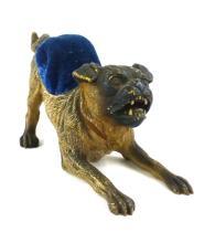 Vintage Cast Bronze Growling Dog Pin Cushion