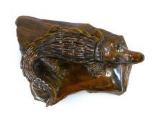Carved Polished Tiger Eye Alligator Carving