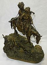 Vassili Grachev (Russian 1831 - 1905) Bronze Man and Woman on Horse Woerfell