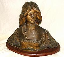 Art Nouveau Gilt Metal Sculpture of Melisande aft A. Gory