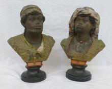 Pair 19th c Blackamoor Bust Sculptures