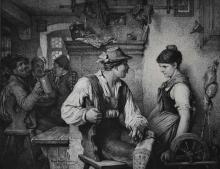 1883 Signed Karl Forberg Etching after Hugo Kauffmann