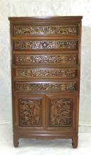 Chinoiserie Carved Floor Stand Silver Storage Chest