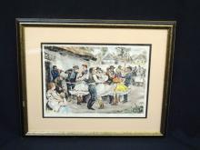 Hand Colored Etching Late 1800's Signed and Titled Unknown Artist