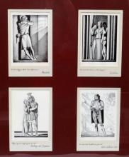Rockwell Kent Matted and Framed Shakespeare Woodblock Prints