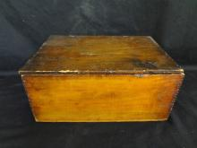 Primitive Wooden Box with Applied Black Americana Advertising Label