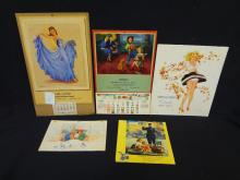 (5) Vintage Calendars: Springmaid, Ulster Fall, Burkel's, Jules Erbit Pin up art