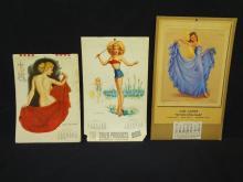 (3) Vintage Jerry Thompson and Jules Erbit Pin-Up Calendars 1946-1956