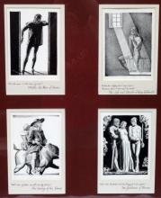 Rockwell Kent Shakespeare Woodblock Prints Matted and Framed