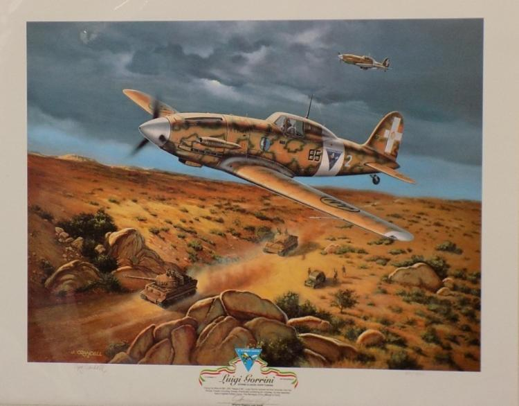 Storm Clouds Over Tunisia by Jerry Crandall Military Print signed by Luigi Gorrini