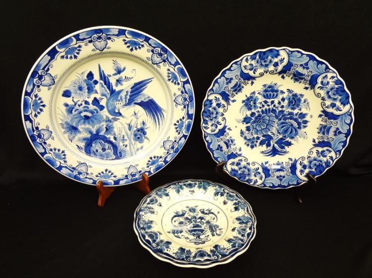 3 Hand Painted Delft Charger Plates De Porceleyne Raam