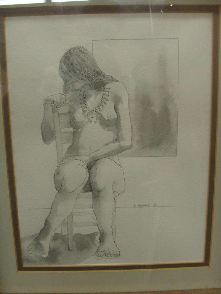 Original Pen & Ink Sketch of Nude by Bob Haozous Chiricahua Apache Artist