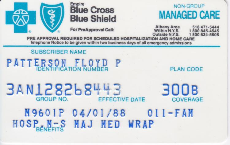 Floyd Patterson Blue Cross Blue Shield Medical Insurance Card