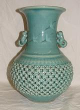 Asian Flying Cranes Pierced Double wall vase