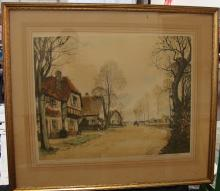 Paul Emile Lecomte Etching Hamlet in France