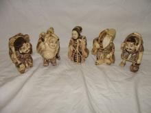 5 Polychrome Netsuke Immortals Figures Signed