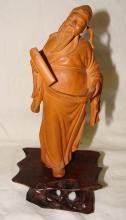 Chinese Elder Plaster Devotional Statue