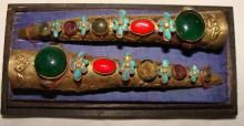 Qing Dynasty  Jeweled Gold Gilt Finger Guards