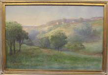 H.L. Lewis Watercolor & Chalk Landscape