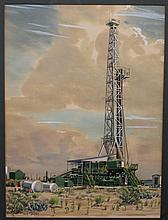Warner Hoople Penrod Drilling Rig watercolor c.1953