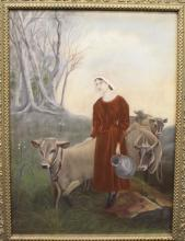 19th c. Pastel on Paper Peasant Girl with Cows