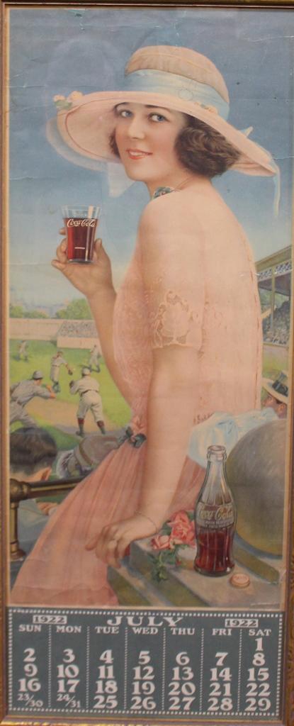 1922 Coca-Cola Calendar with Baseball Motif
