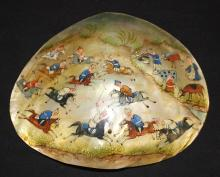 Amazing Antique Hand Painted Clam Shell