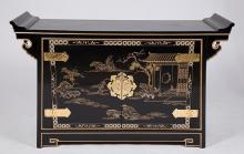 20th c. Chinese Black Laxquered Cabinet w/Gilt Decoration
