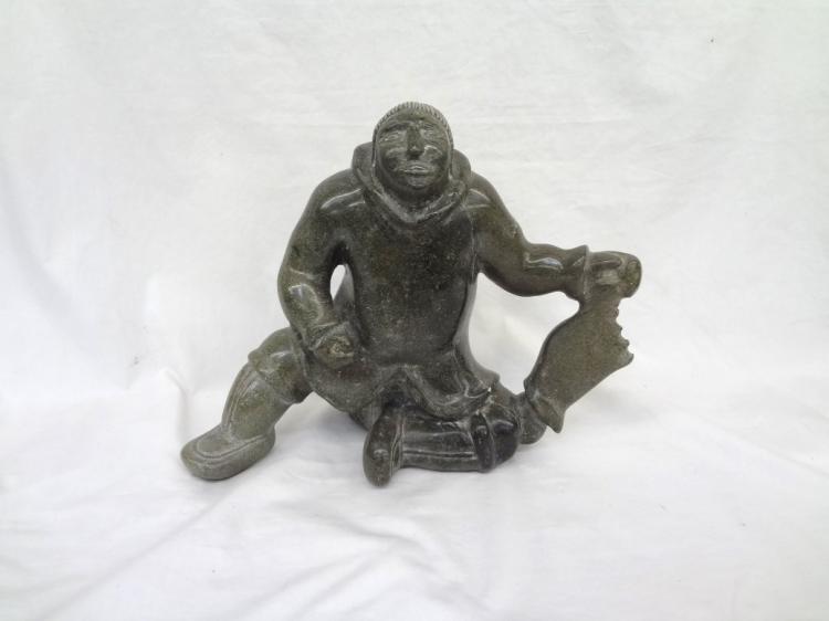 Eskimo Green Stone Carved Sculpture Elijah Michael