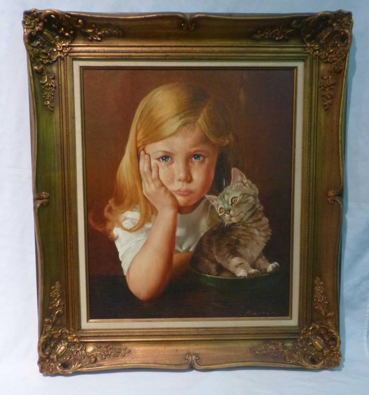 Giovanni Bragolin (1911-1981), Crying Girl & Cat aka Bruno Amadio