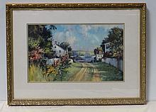 Paul Landry (American b. 1933) Watercolor Road to Harbor
