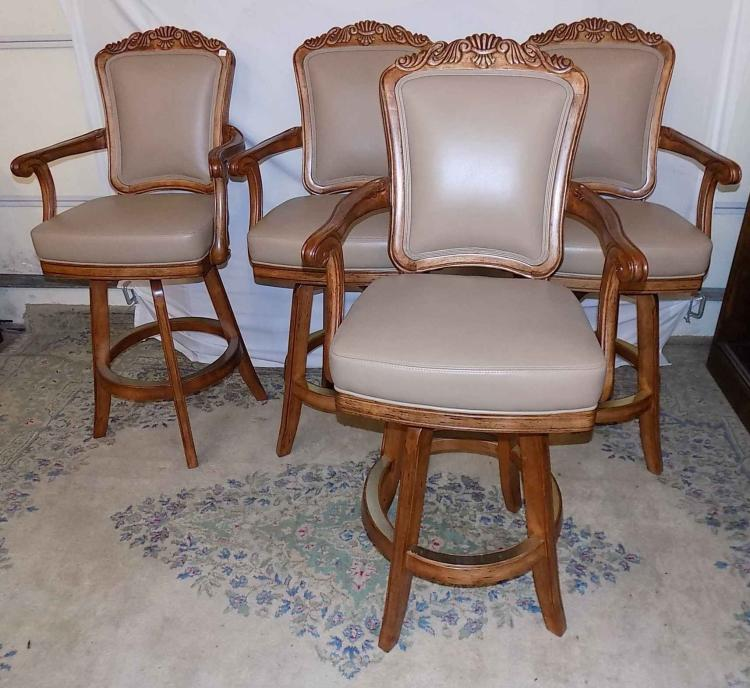 Astonishing Set Of 4 Wooden Cushioned High Back Bar Stools Squirreltailoven Fun Painted Chair Ideas Images Squirreltailovenorg