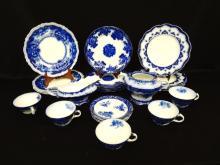 (22) Flow Blue China: Alcock, Waldorf, Johnson, Touraine, Astral