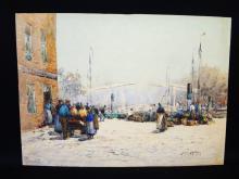 John Ernst Aitken (1881-1957 British) Watercolor on board Marine Landscape