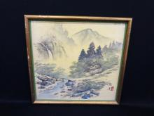 Chinese Watercolor on Silk Matted and Framed