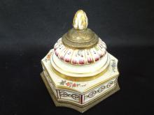 Hand Painted Porcelain Inkwell Nicholas Hayden Lamps and Shades Co.