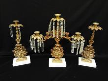 Victorian Girandole Candleabra and Candlestick Set