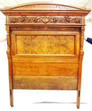 (3) Piece Burl Wood Inlay Bedroom Set: Bed, Commode, Mirrored Dresser