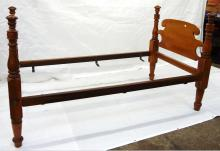 1830's Sheraton Single 4 Post Bed Head and Foot Board 2 Rails