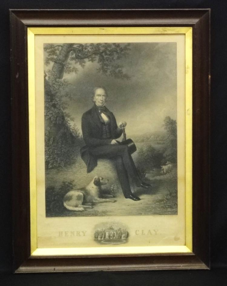 Henry Clay by H.S. Sadd 19th Century Steel Engraving in Period Frame