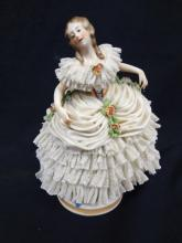 Capodimonte Italian Porcelain Figurine Lady with lace Skirt