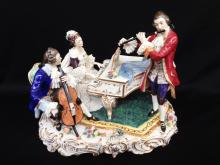 Dresden Figural Group Trio of Musicians Playing Piano
