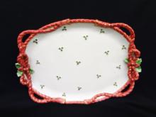 Fitz and Floyd Christmas Oval Platter Holly Rope