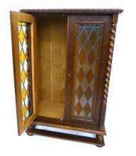 Oak Two Door Colored Glass Bookcase