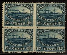 New Brunswick Scott 10 Block of 4 Fine OG H/NH SCV.$400+