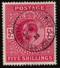 Great Britain Scott 140 VF Used 5sh King Edward SCV.$225