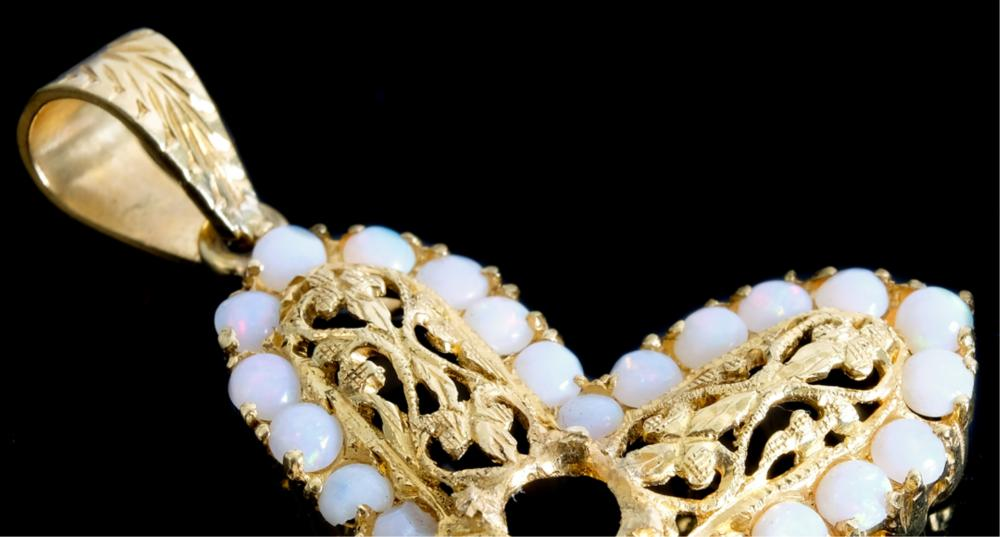 18k Yellow Gold & Opal Filigree Cross Pendant