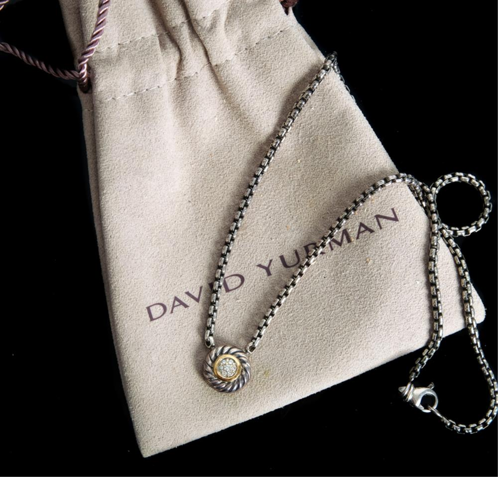 David Yurman 925 750 Diamond Pendant Necklace