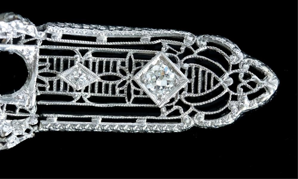 Platinum & 14k WG Diamond Deco Brooch
